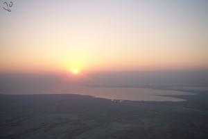 Lever de soleil sur la mer Morte, depuis les remparts de Massada
