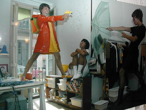 Papier peint trompe l-oeil dans une boutique de Barcelone.