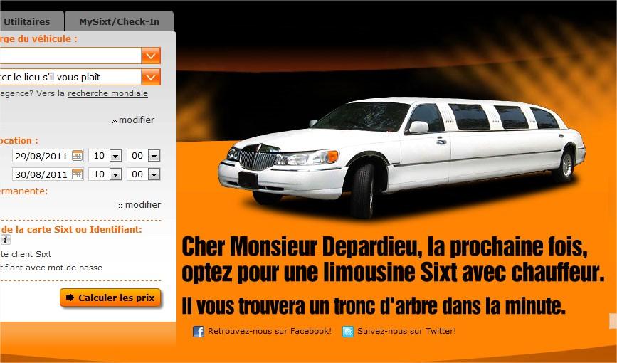 Capture d'écran su site sixt.fr