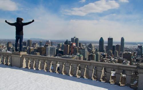 Bruno à Montréal, l'une de ses destinations préférées.