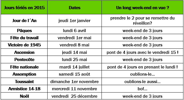 Jours fériés 2015