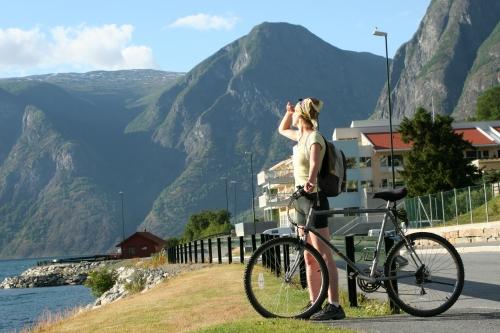 backpackeuse à vélo