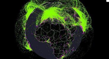 Une carte interactive pour une année de trafic aérien !