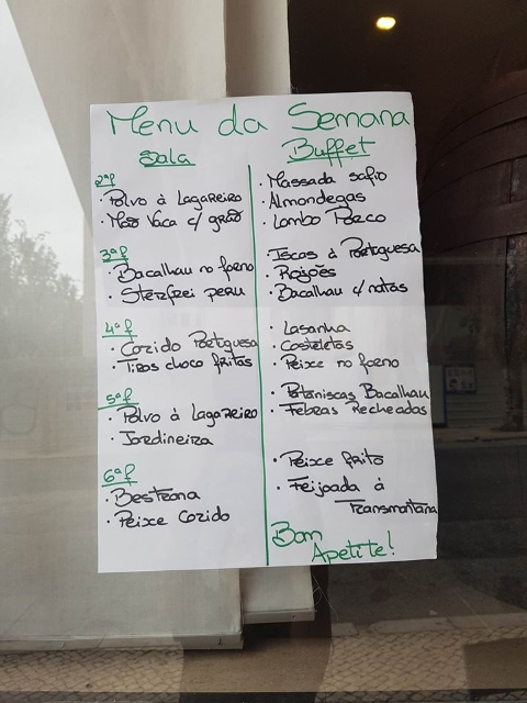 Exemple de Menu de la Semaine - Restaurant Al Paxa - Lisbonne