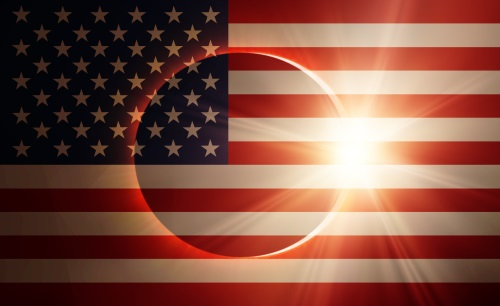 American flag eclipse