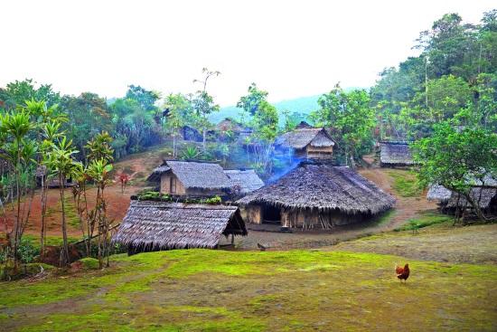Vanuatu village under the rain