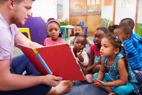 Volunteer teaching in a school