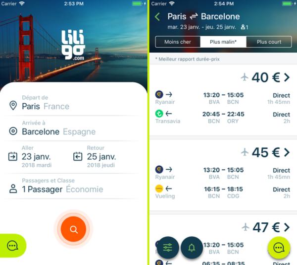 Nouvelle liligo app ecrans