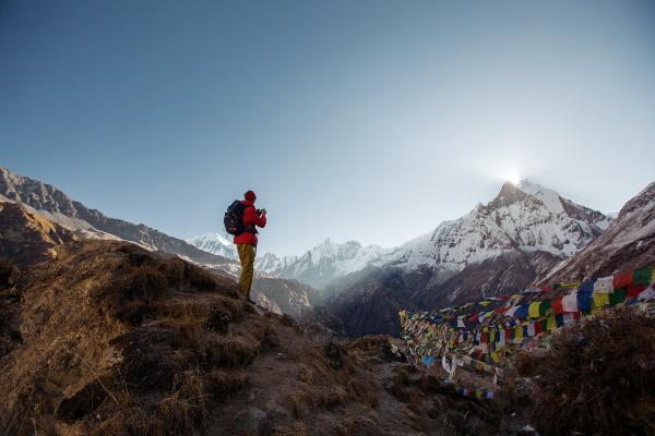 La Montagne sacrée Machapuchare du camp de base de l'Annapurna