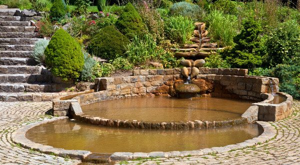 The Vesica Pool in the Chalice Well Gardens in Glastonbury.
