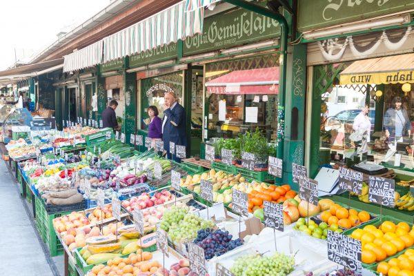 Street market of fruits in Vienna
