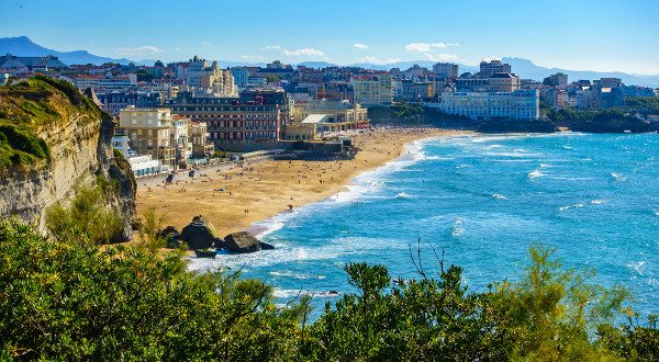 Biarritz Grande Plage (beach) in summer, France (Biarritz Grande Plage