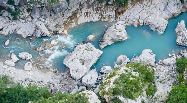 Gorges du Verdon european canyon and river aerial view. Alps, Provence, France.